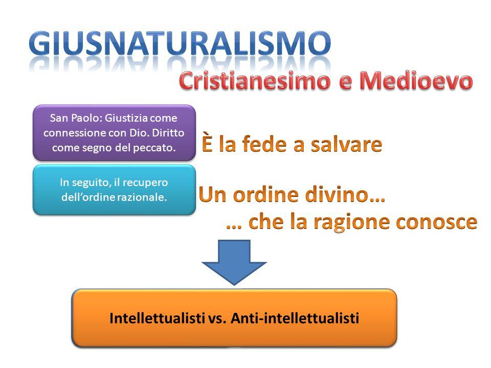 San Paolo: Giustizia come connessione con Dio. Diritto come segno del peccato. In seguito, il recupero dellordine razionale. Luomo può conoscere ciò c