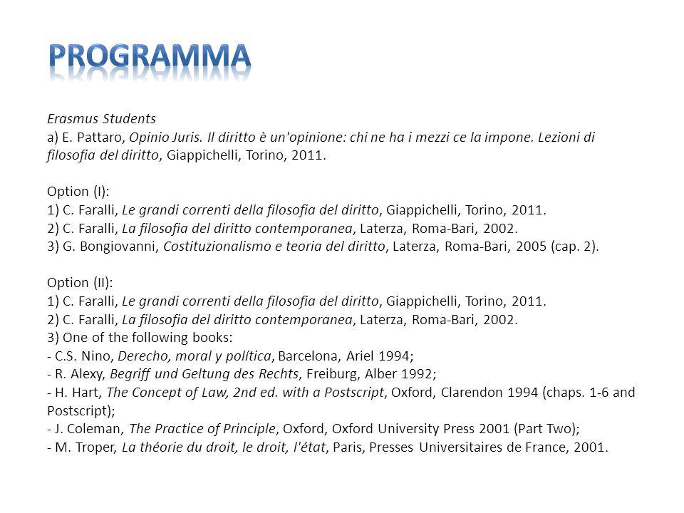 Erasmus Students a) E. Pattaro, Opinio Juris. Il diritto è un'opinione: chi ne ha i mezzi ce la impone. Lezioni di filosofia del diritto, Giappichelli