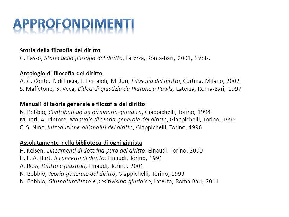 Storia della filosofia del diritto G. Fassò, Storia della filosofia del diritto, Laterza, Roma-Bari, 2001, 3 vols. Antologie di filosofia del diritto