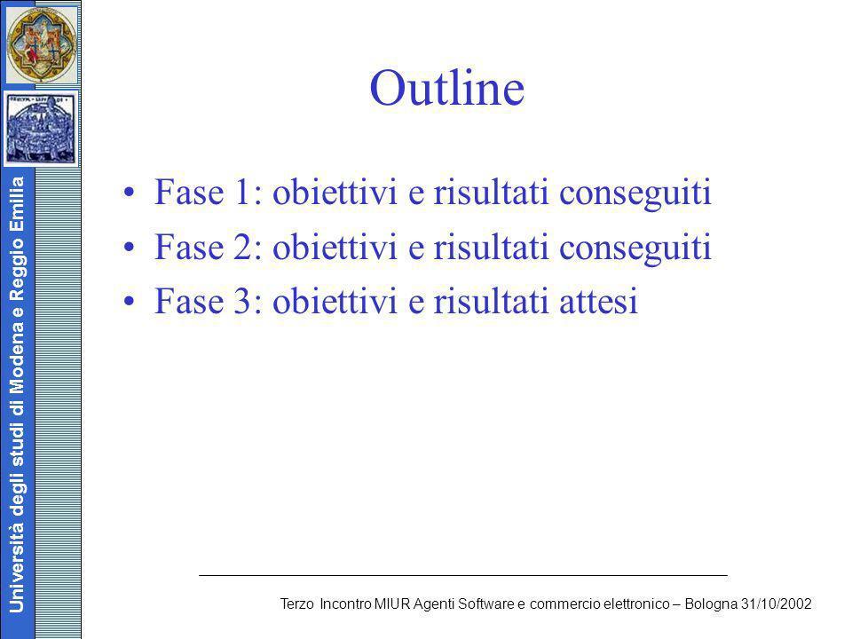 Università degli studi di Modena e Reggio Emilia Terzo Incontro MIUR Agenti Software e commercio elettronico – Bologna 31/10/2002 Outline Fase 1: obie