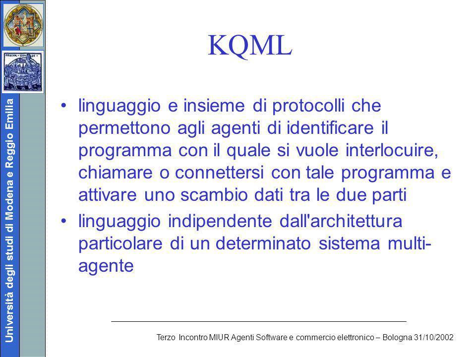 Università degli studi di Modena e Reggio Emilia Terzo Incontro MIUR Agenti Software e commercio elettronico – Bologna 31/10/2002 KQML linguaggio e in