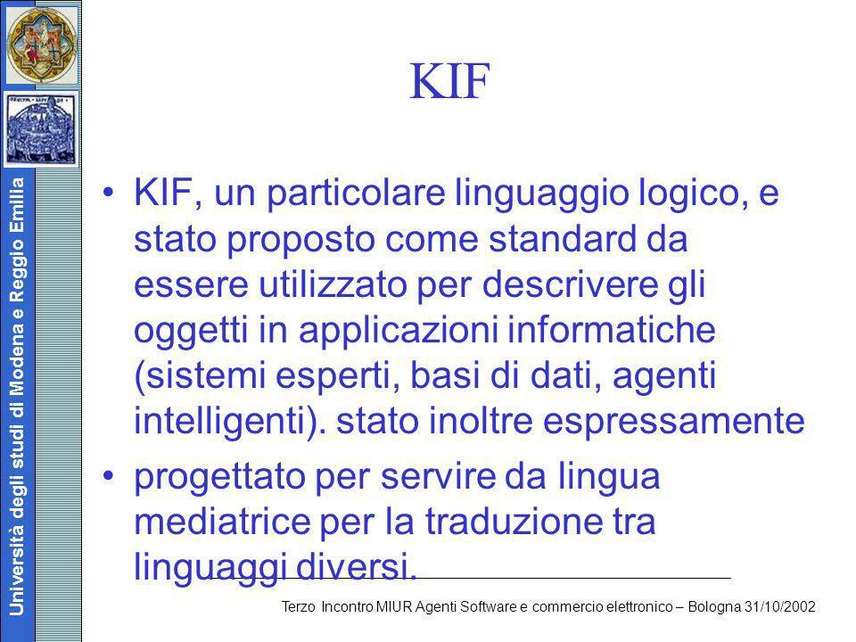 Università degli studi di Modena e Reggio Emilia Terzo Incontro MIUR Agenti Software e commercio elettronico – Bologna 31/10/2002 KIF KIF, un particol