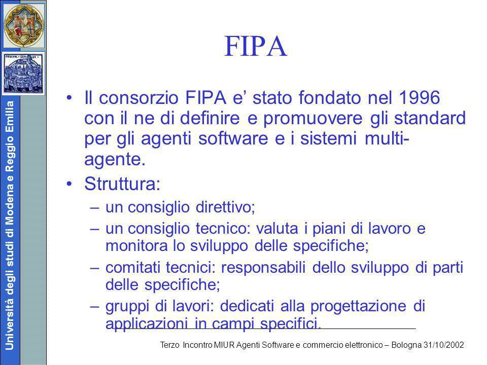 Università degli studi di Modena e Reggio Emilia Terzo Incontro MIUR Agenti Software e commercio elettronico – Bologna 31/10/2002 FIPA Il consorzio FI