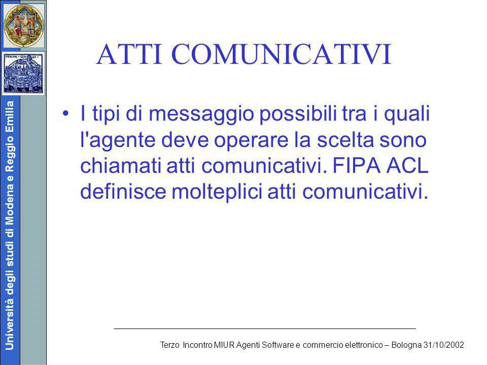 Università degli studi di Modena e Reggio Emilia Terzo Incontro MIUR Agenti Software e commercio elettronico – Bologna 31/10/2002 ATTI COMUNICATIVI I