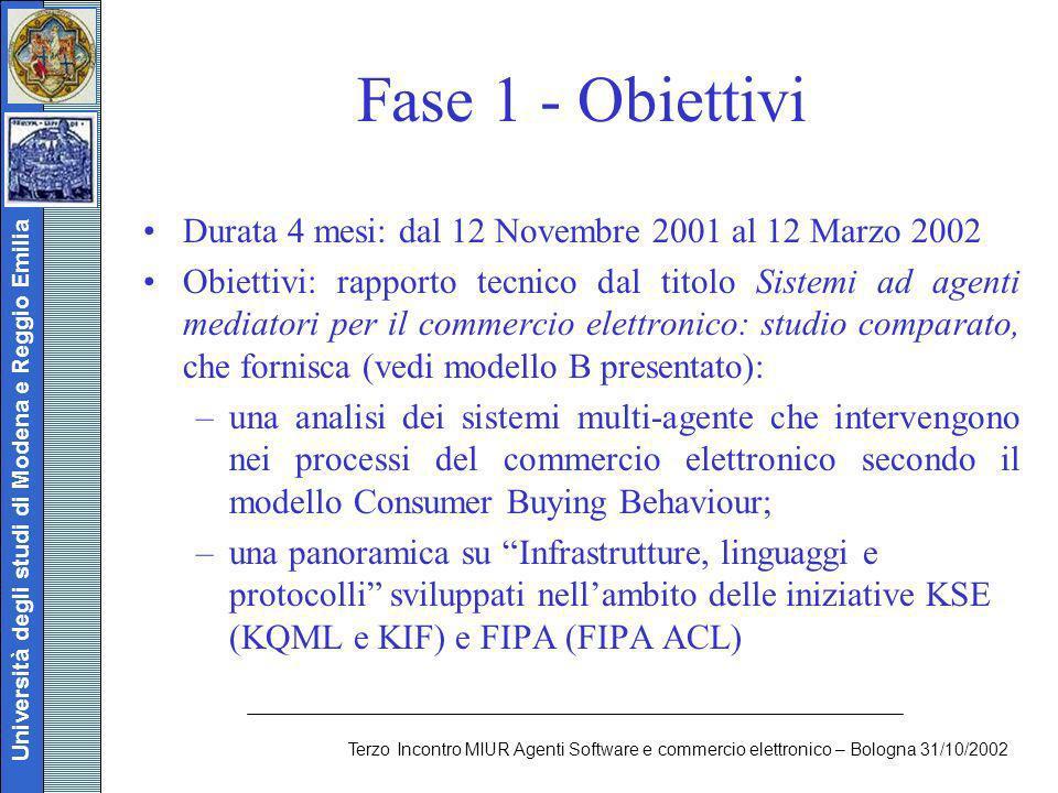 Università degli studi di Modena e Reggio Emilia Terzo Incontro MIUR Agenti Software e commercio elettronico – Bologna 31/10/2002 Fase 1 - Obiettivi D