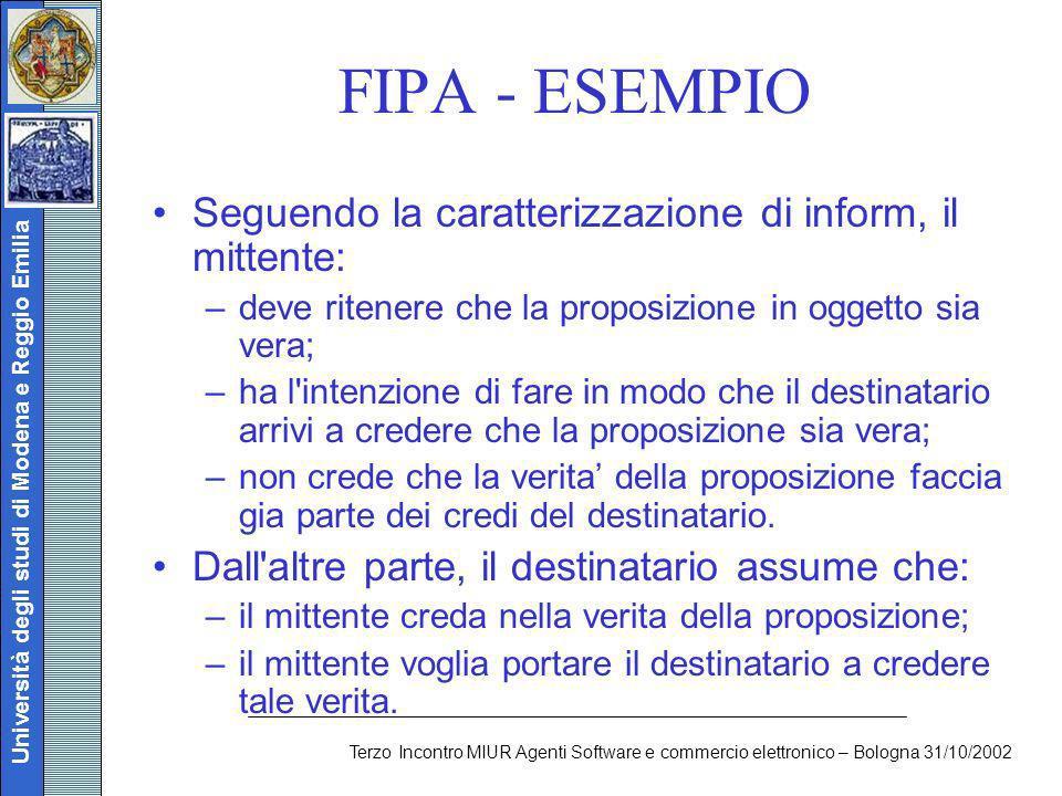 Università degli studi di Modena e Reggio Emilia Terzo Incontro MIUR Agenti Software e commercio elettronico – Bologna 31/10/2002 FIPA - ESEMPIO Segue