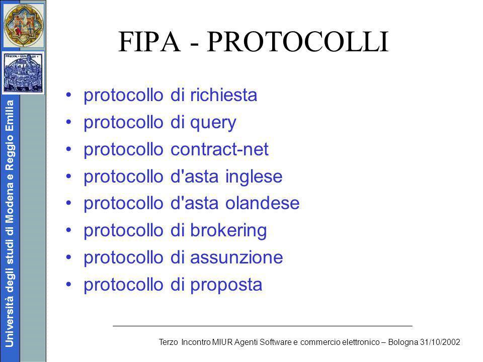Università degli studi di Modena e Reggio Emilia Terzo Incontro MIUR Agenti Software e commercio elettronico – Bologna 31/10/2002 FIPA - PROTOCOLLI pr