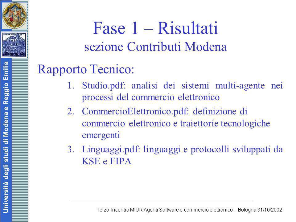 Università degli studi di Modena e Reggio Emilia Terzo Incontro MIUR Agenti Software e commercio elettronico – Bologna 31/10/2002 Fase 1 – Risultati s
