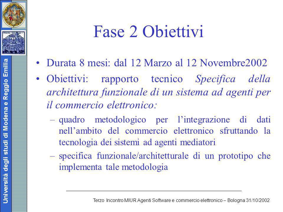 Università degli studi di Modena e Reggio Emilia Terzo Incontro MIUR Agenti Software e commercio elettronico – Bologna 31/10/2002 Fase 2 Obiettivi Dur