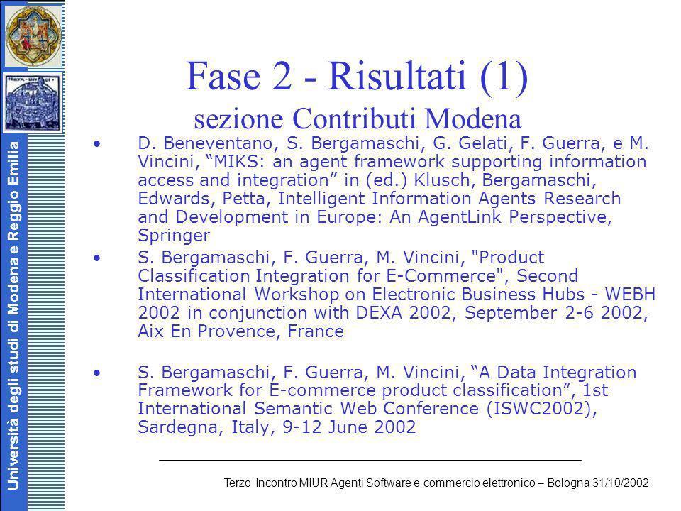 Università degli studi di Modena e Reggio Emilia Terzo Incontro MIUR Agenti Software e commercio elettronico – Bologna 31/10/2002 Fase 2 - Risultati (