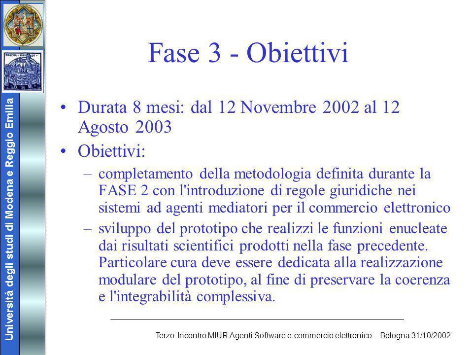 Università degli studi di Modena e Reggio Emilia Terzo Incontro MIUR Agenti Software e commercio elettronico – Bologna 31/10/2002 Fase 3 - Obiettivi D
