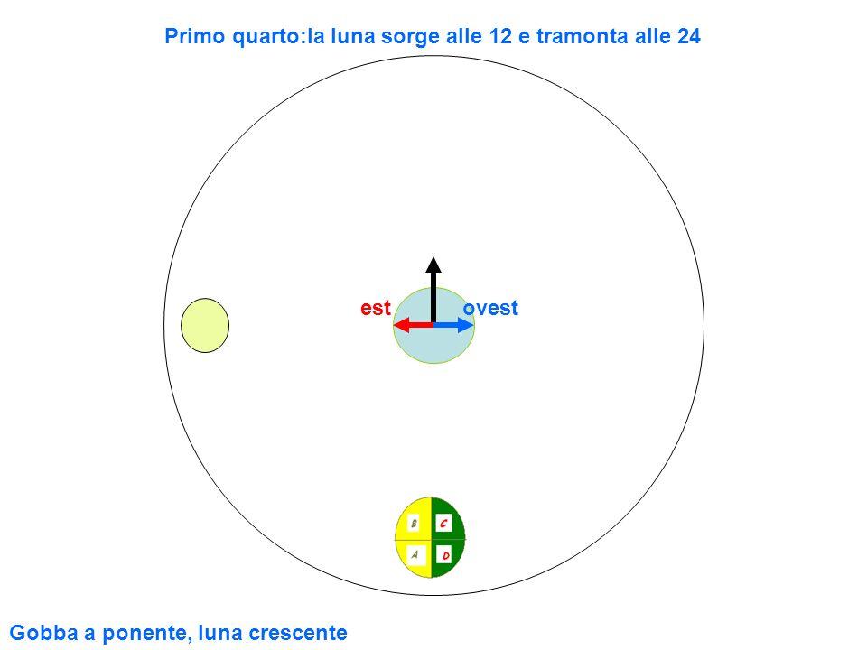 estovest Primo quarto:la luna sorge alle 12 e tramonta alle 24 Gobba a ponente, luna crescente