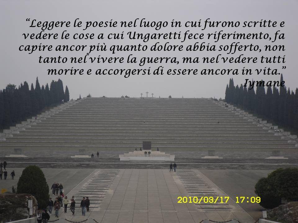 Leggere le poesie nel luogo in cui furono scritte e vedere le cose a cui Ungaretti fece riferimento, fa capire ancor più quanto dolore abbia sofferto,