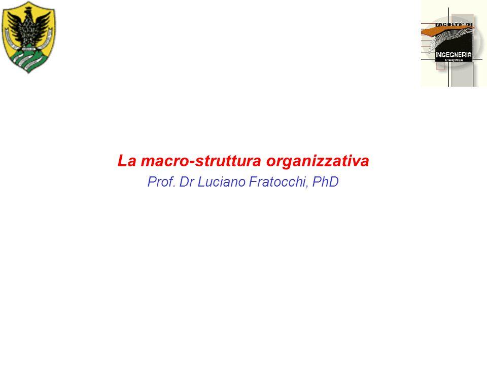 La macro-struttura organizzativa Prof. Dr Luciano Fratocchi, PhD