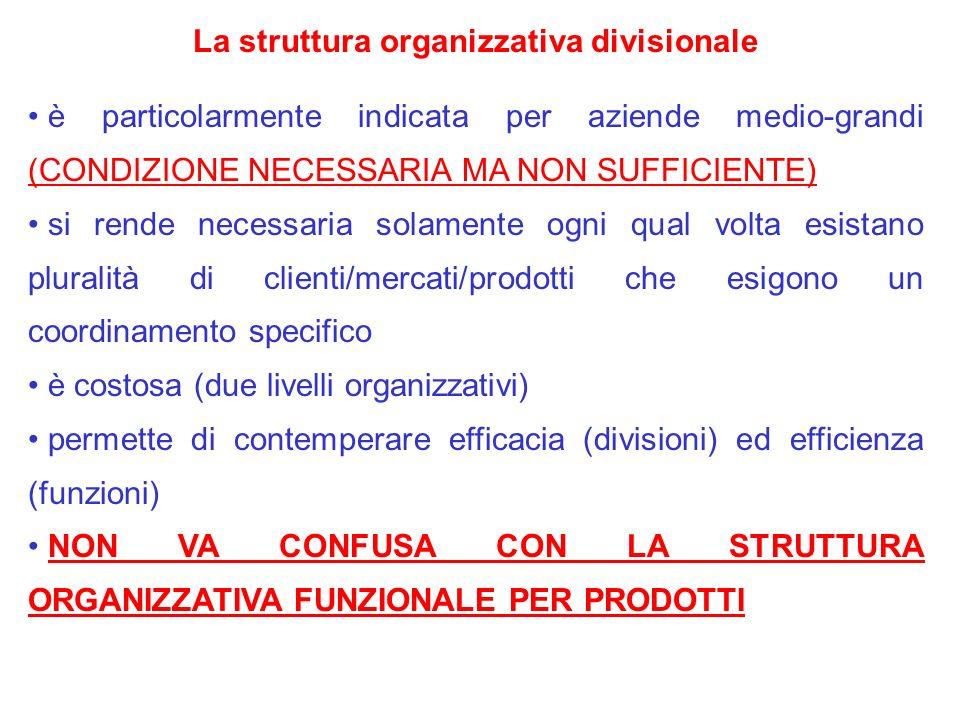 La struttura organizzativa divisionale è particolarmente indicata per aziende medio-grandi (CONDIZIONE NECESSARIA MA NON SUFFICIENTE) si rende necessa