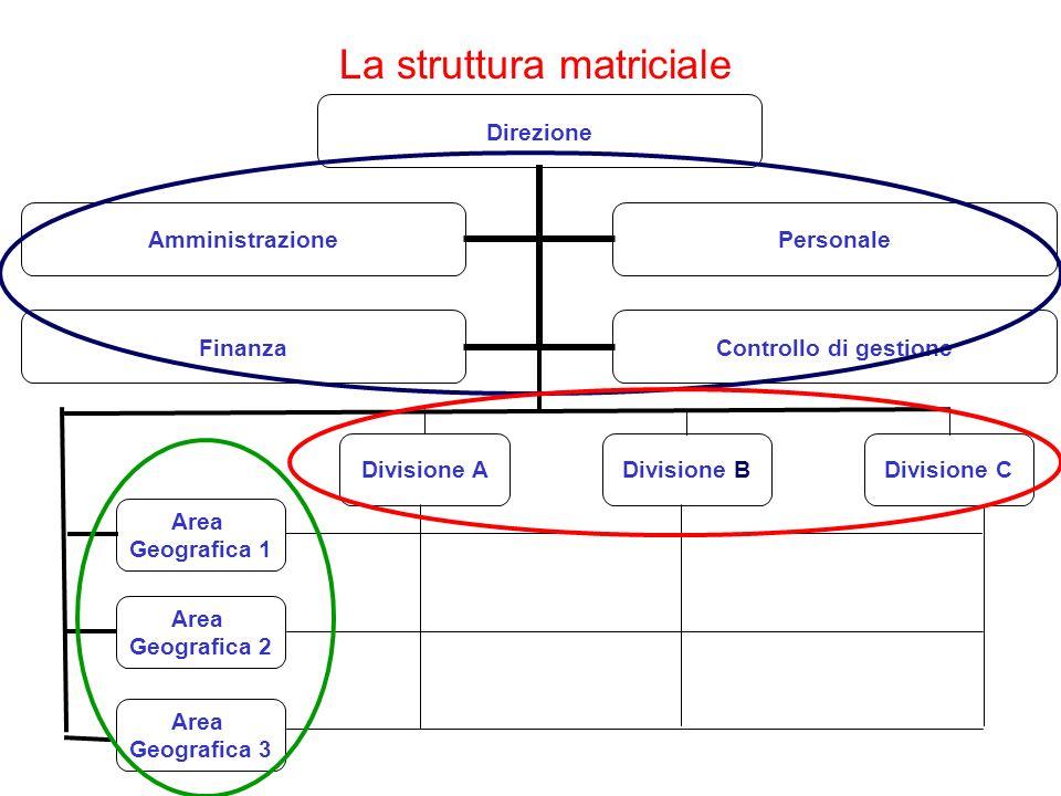 La struttura matriciale Direzione AmministrazionePersonale Finanza Controllo di gestione Area Geografica 1 Area Geografica 2 Area Geografica 3 Divisio