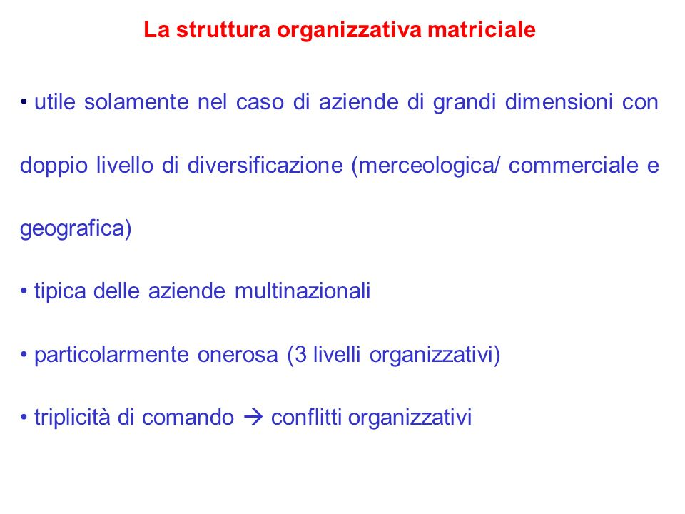 La struttura organizzativa matriciale utile solamente nel caso di aziende di grandi dimensioni con doppio livello di diversificazione (merceologica/ c