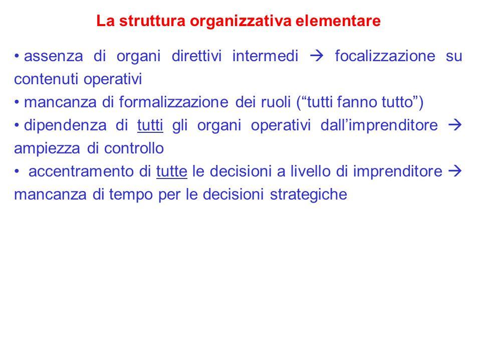 La struttura organizzativa elementare assenza di organi direttivi intermedi focalizzazione su contenuti operativi mancanza di formalizzazione dei ruol