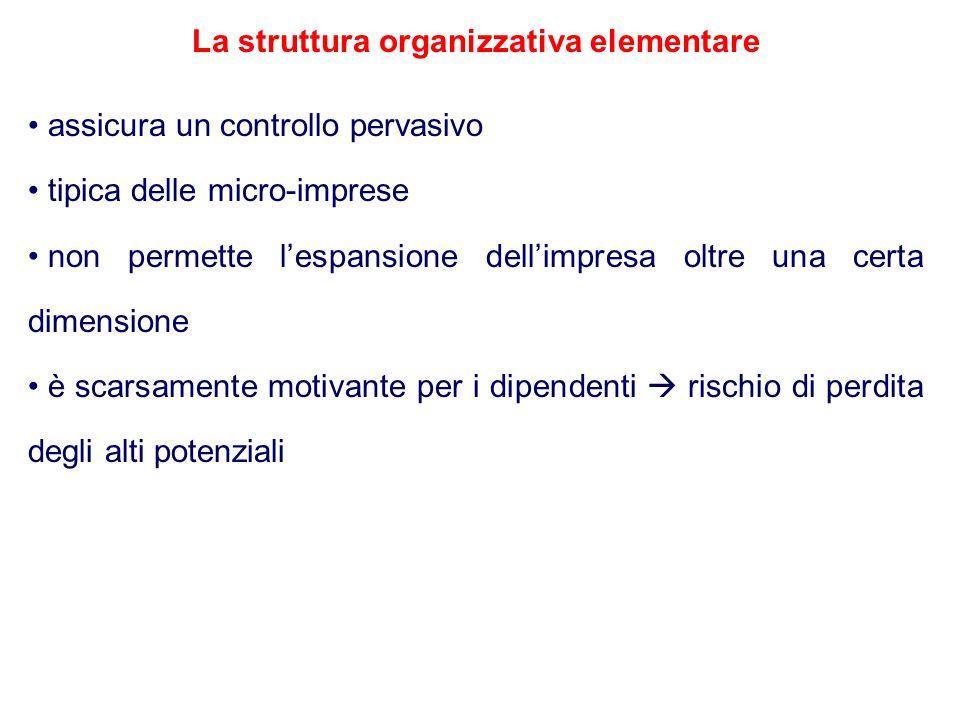 La struttura organizzativa elementare assicura un controllo pervasivo tipica delle micro-imprese non permette lespansione dellimpresa oltre una certa
