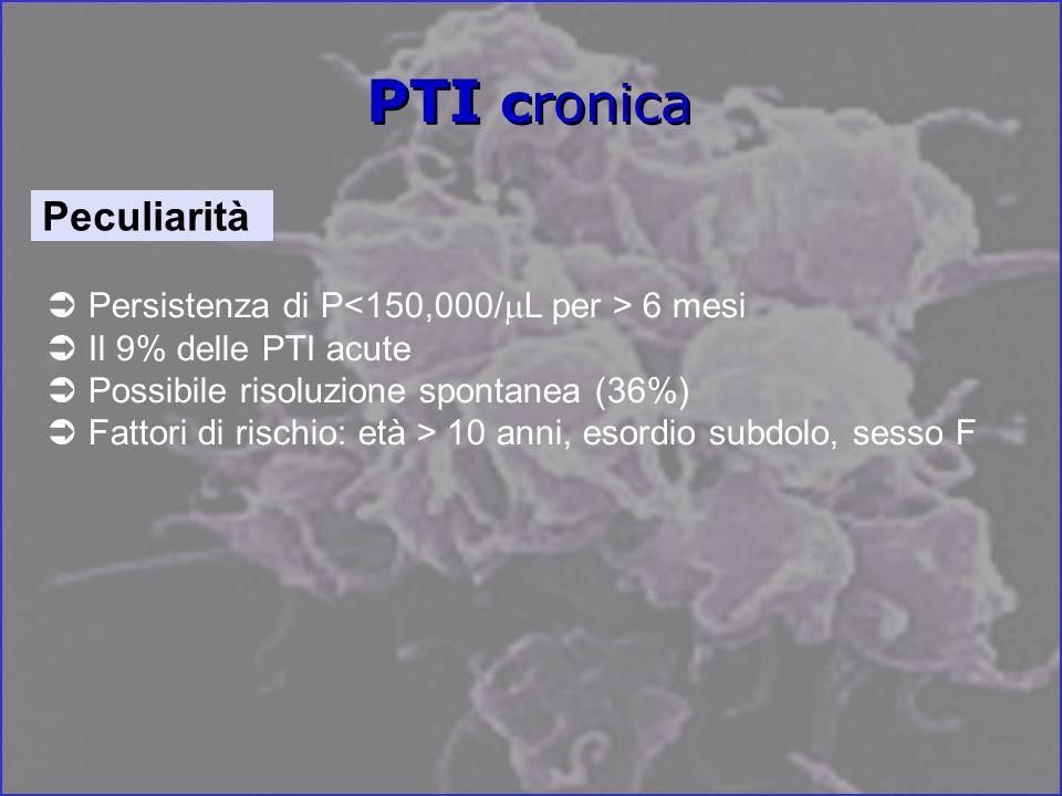 PTI cronica Persistenza di P 6 mesi Il 9% delle PTI acute Possibile risoluzione spontanea (36%) Fattori di rischio: età > 10 anni, esordio subdolo, sesso F Peculiarità