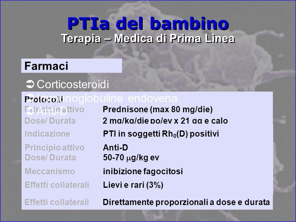 Protocolli Principio attivoImmunoglobuline IV Dose/ Durata2 g/kg in 2-5 gg Dose/ Durata0.8 g/kg in 2-5 gg Dose/ Durata250 mg/kg/die x 2 gg MeccanismoInibizione attività macrofagi del SRE Effetti collaterali Complicanze acute: 15-75% dei casi Protocolli Principio attivoPrednisone (max 80 mg/die) Dose/ Durata2 mg/kg/die po/ev x 21 gg e calo Dose/ Durata4 mg/kg/die po/ev x 7 gg e calo x 14 gg Dose/ Durata4 mg/kg/die po x 4 gg Principio attivo Metilprednisolone Dose/ Durata 30 mg/kg/die po/ev x 3 gg Meccanismoinibizione fagocitosi, Ab-poiesi, aumento produzione P e pool circolante Effetti collaterali Direttamente proporzionali a dose e durata PTIa del bambino Terapia – Medica di Prima Linea Corticosteroidi Farmaci Immunoglobuline endovena Anti-D IndicazionePTI in soggetti Rh 0 (D) positivi Principio attivoAnti-D Dose/ Durata50-70 g/kg ev Meccanismoinibizione fagocitosi Effetti collaterali Lievi e rari (3%)