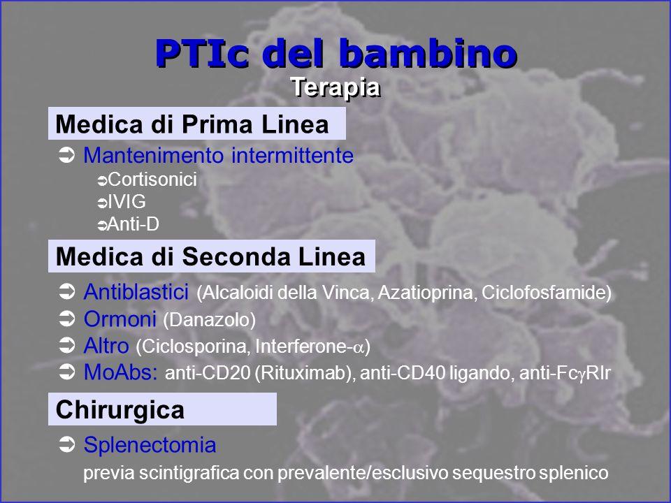 PTIc del bambino Terapia Mantenimento intermittente Cortisonici IVIG Anti-D Medica di Prima Linea Splenectomia previa scintigrafica con prevalente/esclusivo sequestro splenico Chirurgica Antiblastici (Alcaloidi della Vinca, Azatioprina, Ciclofosfamide) Ormoni (Danazolo) Altro (Ciclosporina, Interferone- ) MoAbs: anti-CD20 (Rituximab), anti-CD40 ligando, anti-Fc RIr Medica di Seconda Linea