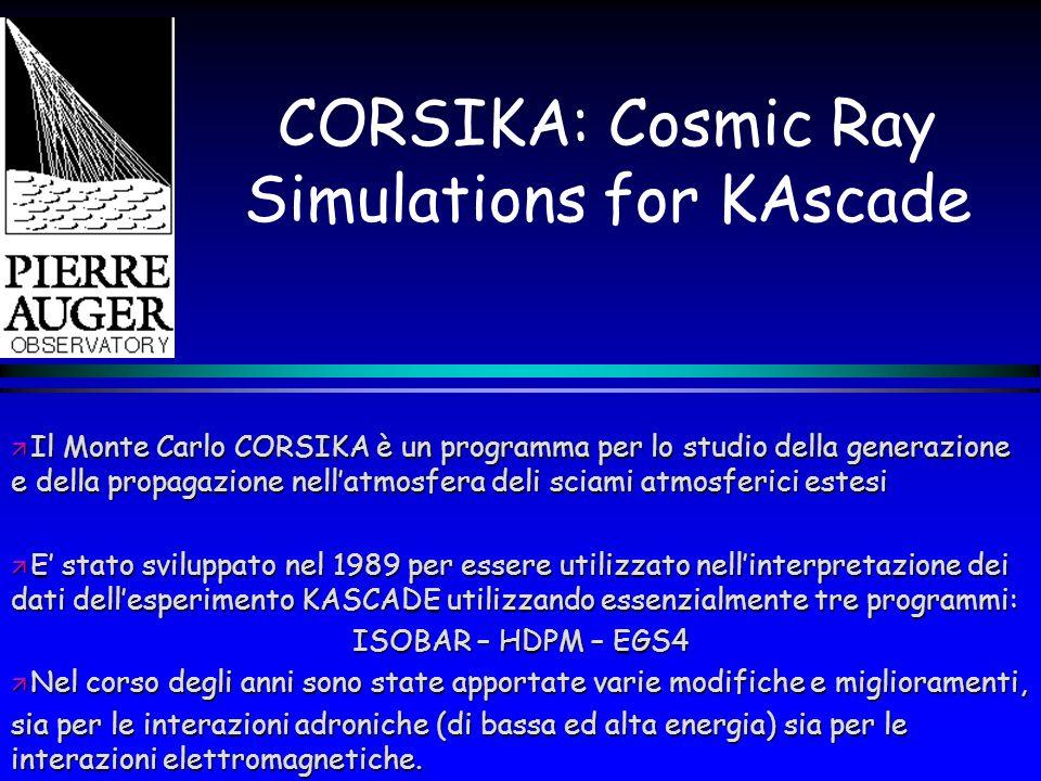 Limiti del CORSIKA La versione originaria del CORSIKA aveva validità fino ad energie di 10 16 eV, mentre attualmente il suo range di energia va da 10 12 eV fino a più di 10 20 eV.