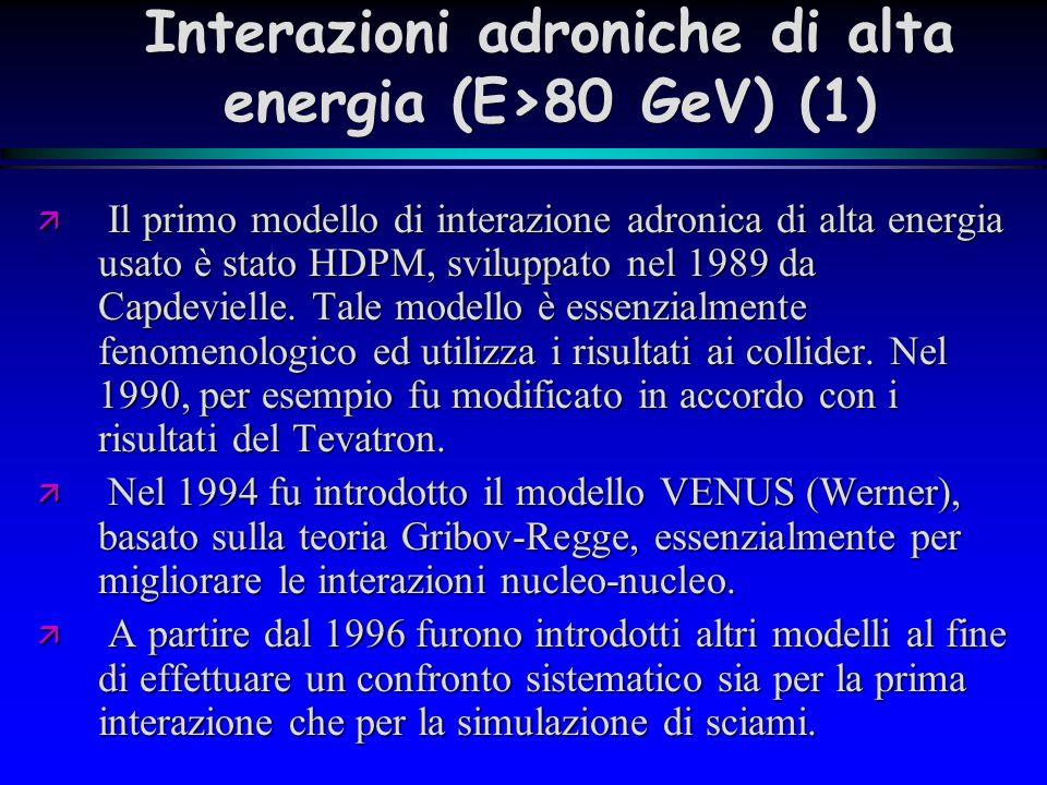 Interazioni adroniche di alta energia (E>80 GeV) (2) VENUS (Werner) VENUS (Werner) SIBYLL (Gaisser et al.) SIBYLL (Gaisser et al.) QGSJET(Ostapchenko et al.) QGSJET(Ostapchenko et al.) DPMJET (Ranft) DPMJET (Ranft) NeXus (Werner et.