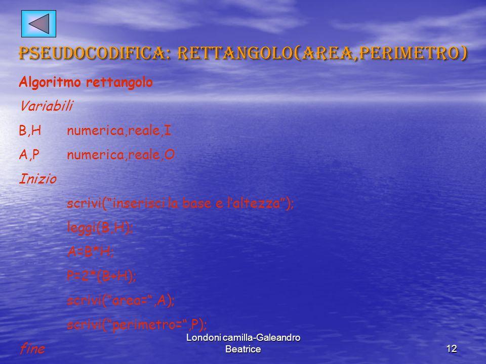 Londoni camilla-Galeandro Beatrice12 pseudocodifica: rettangolo(area,perimetro) Algoritmo rettangolo Variabili B,Hnumerica,reale,I A,Pnumerica,reale,O Inizio scrivi(inserisci la base e laltezza); leggi(B,H); A=B*H; P=2*(B+H); scrivi(area=,A); scrivi(perimetro=,P); fine