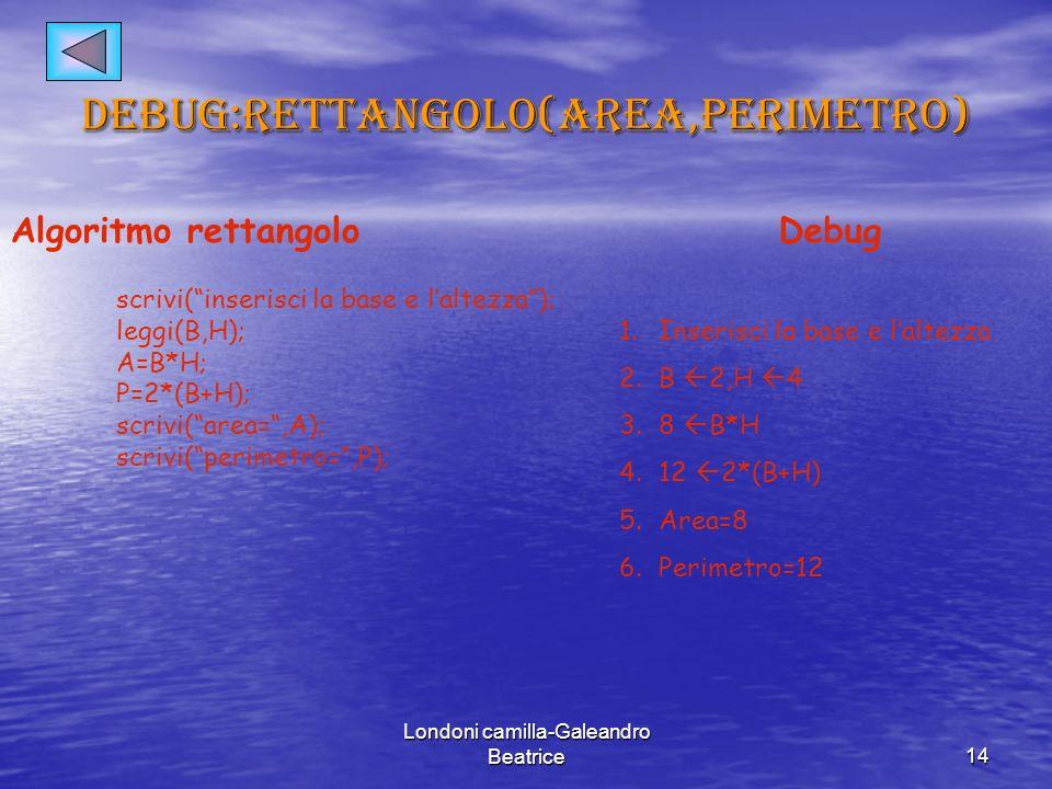 Londoni camilla-Galeandro Beatrice14 Debug:rettangolo(area,perimetro) Algoritmo rettangolo scrivi(inserisci la base e laltezza); leggi(B,H); A=B*H; P=2*(B+H); scrivi(area=,A); scrivi(perimetro=,P); Debug 1.Inserisci la base e laltezza 2.B 2,H 4 3.8 B*H 4.12 2*(B+H) 5.Area=8 6.Perimetro=12