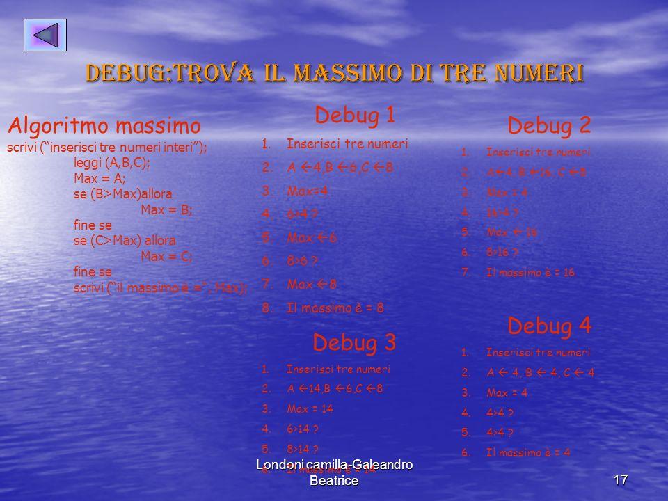 Londoni camilla-Galeandro Beatrice17 Debug:trova il massimo di tre numeri Algoritmo massimo scrivi (inserisci tre numeri interi); leggi (A,B,C); Max = A; se (B>Max)allora Max = B; fine se se (C>Max) allora Max = C; fine se scrivi (il massimo è =, Max); Debug 1 1.Inserisci tre numeri 2.A 4,B 6,C 8 3.Max=4 4.6>4 .