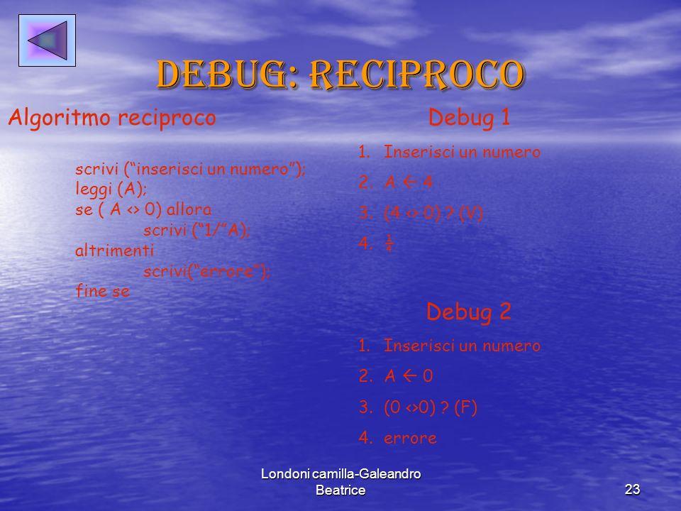 Londoni camilla-Galeandro Beatrice23 Debug: reciproco Algoritmo reciproco scrivi (inserisci un numero); leggi (A); se ( A <> 0) allora scrivi (1/A); altrimenti scrivi(errore); fine se Debug 1 1.Inserisci un numero 2.A 4 3.(4 <> 0) .