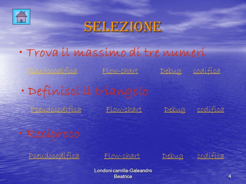Londoni camilla-Galeandro Beatrice4 Selezione Trova il massimo di tre numeri Definisci il triangolo Reciproco PseudocodificaFlow-chartDebug PseudocodificaFlow-chartDebug PseudocodificaFlow-chartDebug codifica