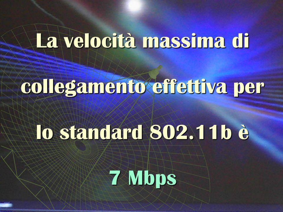 La velocità massima di collegamento effettiva per lo standard 802.11b è 7 Mbps