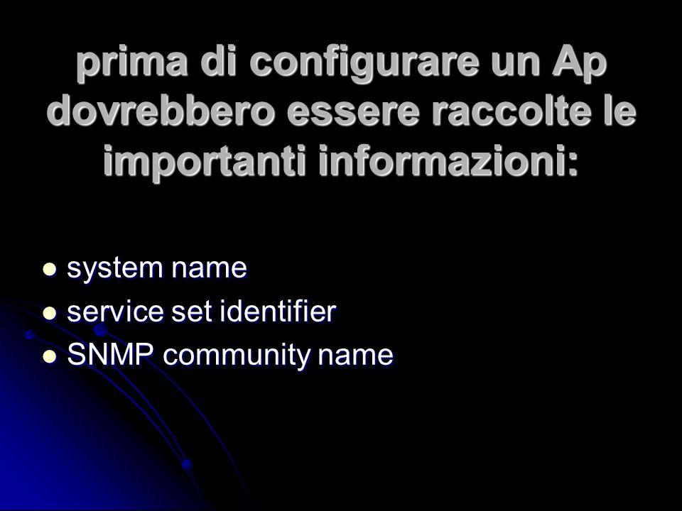 prima di configurare un Ap dovrebbero essere raccolte le importanti informazioni: system name system name service set identifier service set identifier SNMP community name SNMP community name