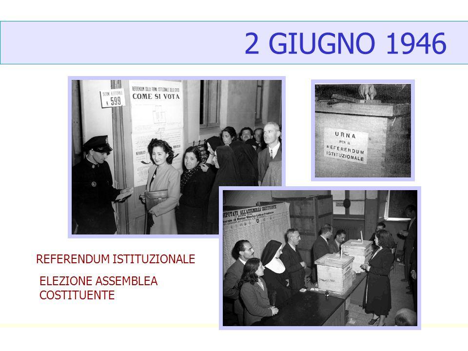 2 GIUGNO 1946 REFERENDUM ISTITUZIONALE ELEZIONE ASSEMBLEA COSTITUENTE