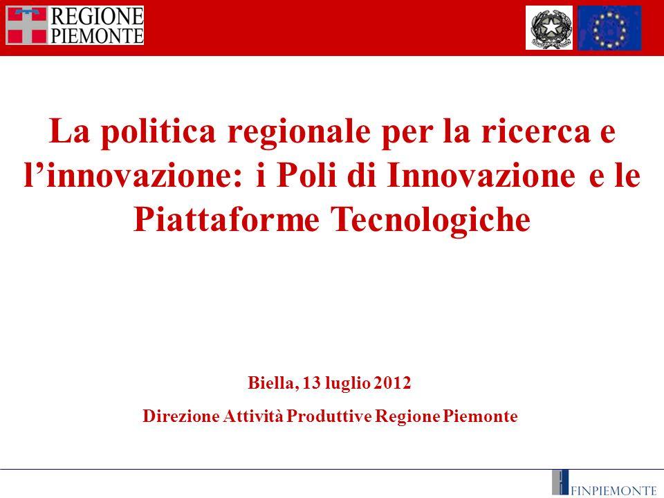 I Poli di innovazione della Regione Piemonte Poli di Innovazione - definizione Poli di Innovazione - definizione Raggruppamenti di imprese indipendenti (start-up innovatrici, piccole e medie imprese, grandi imprese, organismi di ricerca, ecc.) attivi in un particolare settore o ambito territoriale di riferimento.