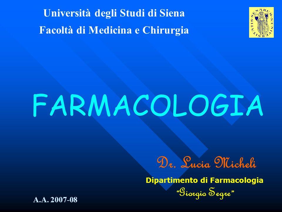 Università degli Studi di Siena Facoltà di Medicina e Chirurgia FARMACOLOGIA Dr. Lucia Micheli Dipartimento di Farmacologia Giorgio Segre A.A. 2007-08