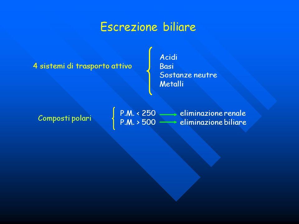 Escrezione biliare 4 sistemi di trasporto attivo Acidi Basi Sostanze neutre Metalli Composti polari P.M. < 250eliminazione renale P.M. > 500eliminazio