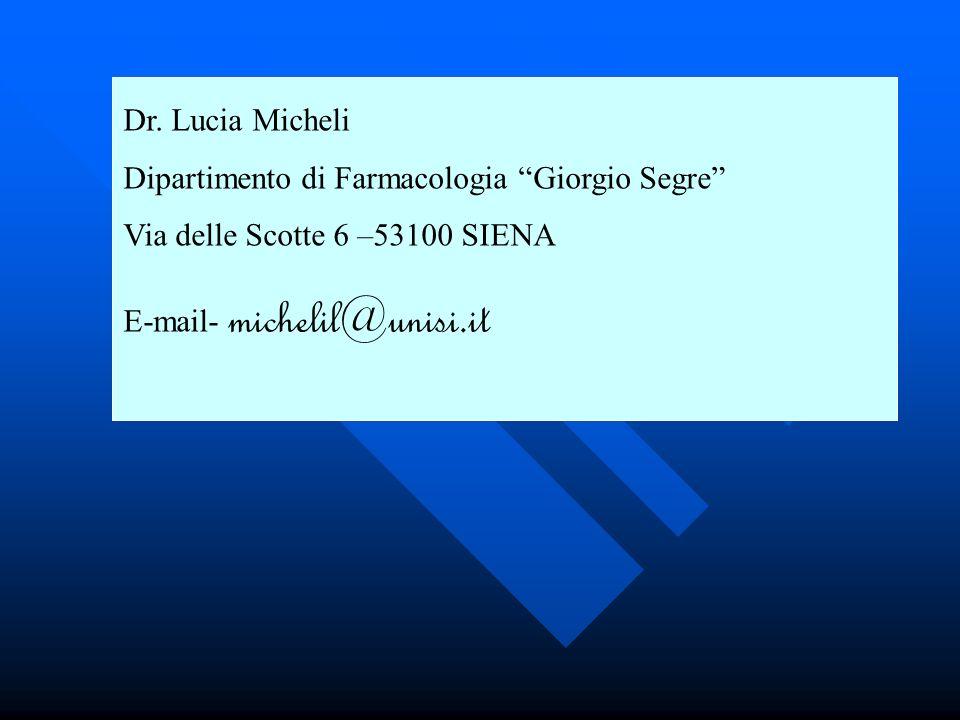 Dr. Lucia Micheli Dipartimento di Farmacologia Giorgio Segre Via delle Scotte 6 –53100 SIENA E-mail- michelil@unisi.it