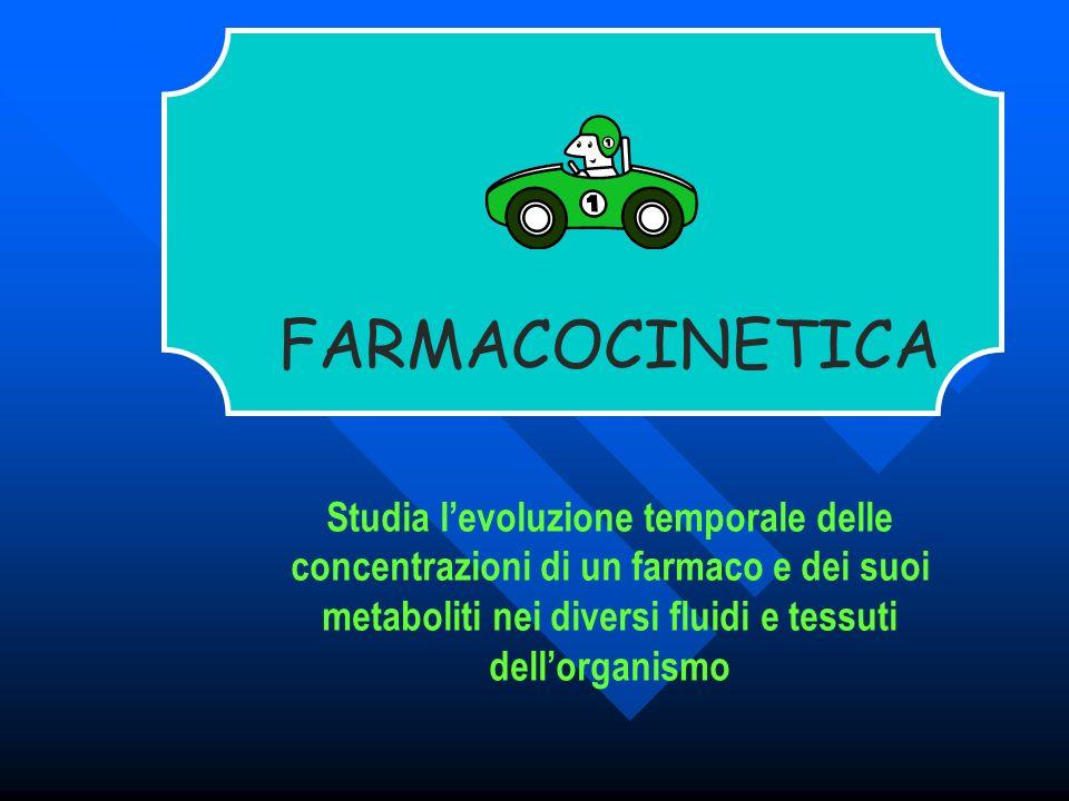 FARMACOCINETICA Studia levoluzione temporale delle concentrazioni di un farmaco e dei suoi metaboliti nei diversi fluidi e tessuti dellorganismo