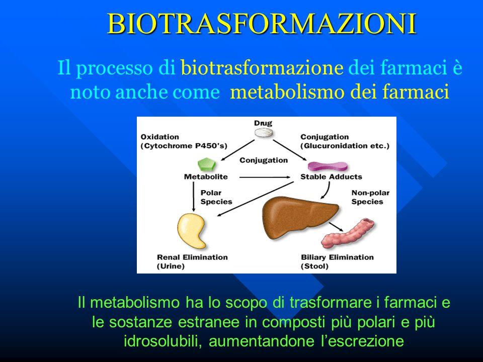 BIOTRASFORMAZIONI Il processo di biotrasformazione dei farmaci è noto anche come metabolismo dei farmaci Il metabolismo ha lo scopo di trasformare i f