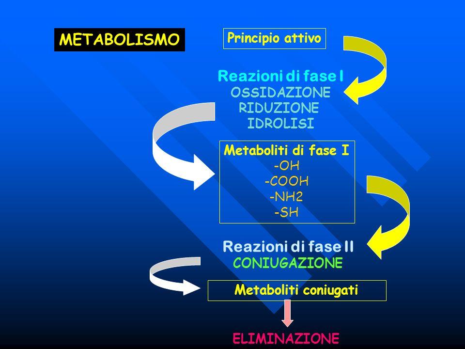 METABOLISMO ELIMINAZIONE Principio attivo Reazioni di fase I OSSIDAZIONE RIDUZIONE IDROLISI Metaboliti di fase I -OH -COOH -NH2 -SH Reazioni di fase I