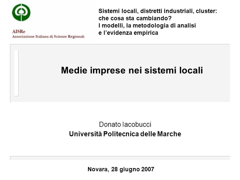 Medie imprese nei sistemi locali Donato Iacobucci Università Politecnica delle Marche Novara, 28 giugno 2007 Sistemi locali, distretti industriali, cluster: che cosa sta cambiando.