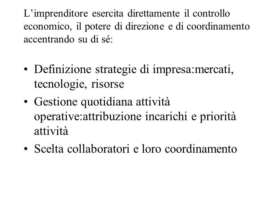 Limprenditore esercita direttamente il controllo economico, il potere di direzione e di coordinamento accentrando su di sé: Definizione strategie di i