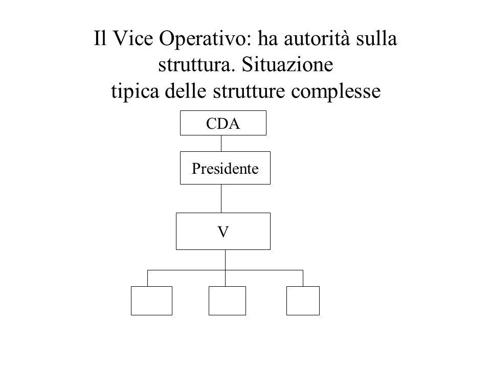 Il Vice Operativo: ha autorità sulla struttura. Situazione tipica delle strutture complesse CDA Presidente V