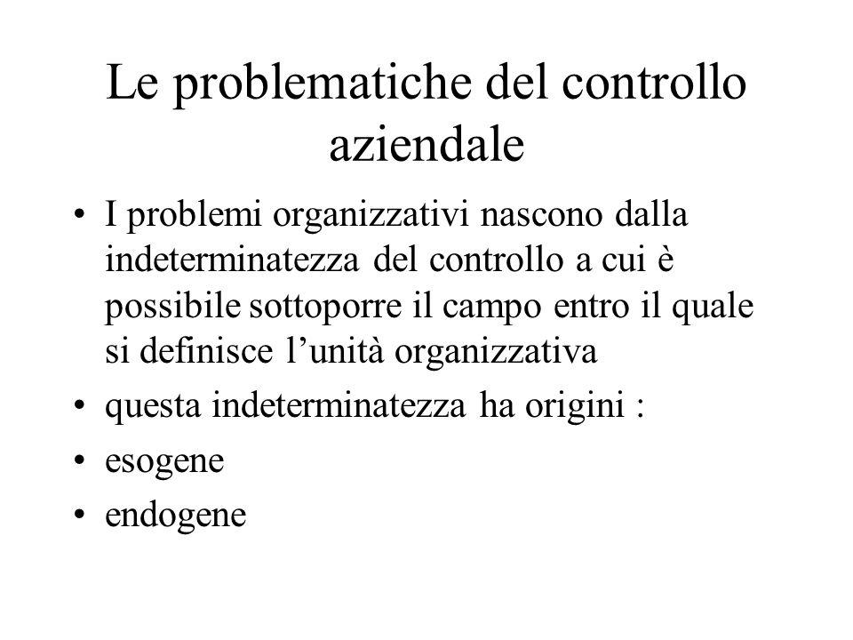 Le problematiche del controllo aziendale I problemi organizzativi nascono dalla indeterminatezza del controllo a cui è possibile sottoporre il campo entro il quale si definisce lunità organizzativa questa indeterminatezza ha origini : esogene endogene