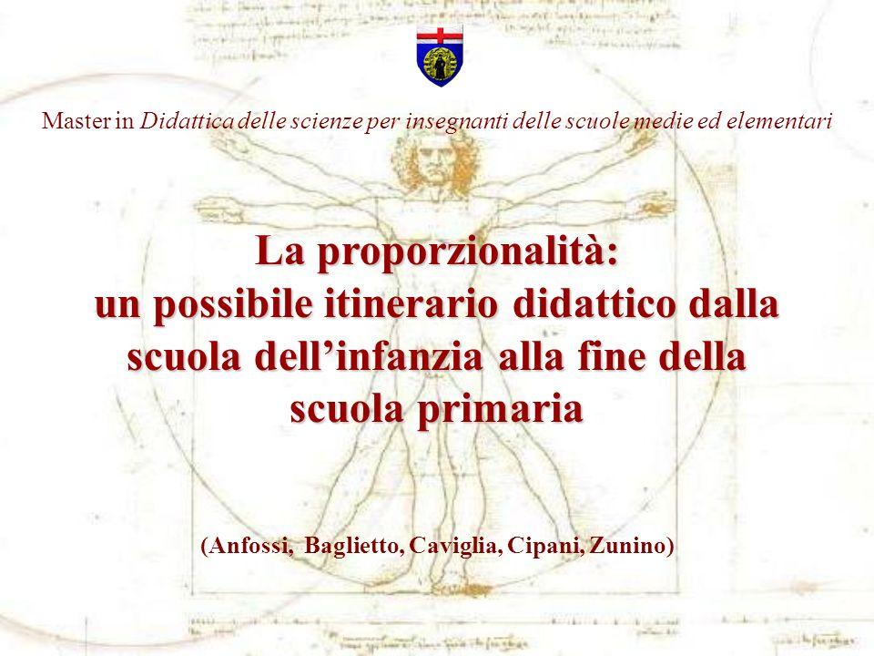 La proporzionalità: un possibile itinerario didattico dalla scuola dellinfanzia alla fine della scuola primaria (Anfossi, Baglietto, Caviglia, Cipani,