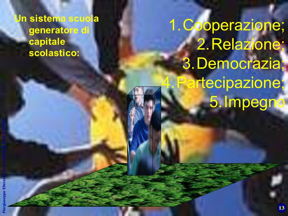 13 Piergiuseppe Ellerani C Università degli Studi di Urbino 1.Cooperazione; 2.Relazione; 3.Democrazia; 4.Partecipazione; 5.Impegno Un sistema scuola g