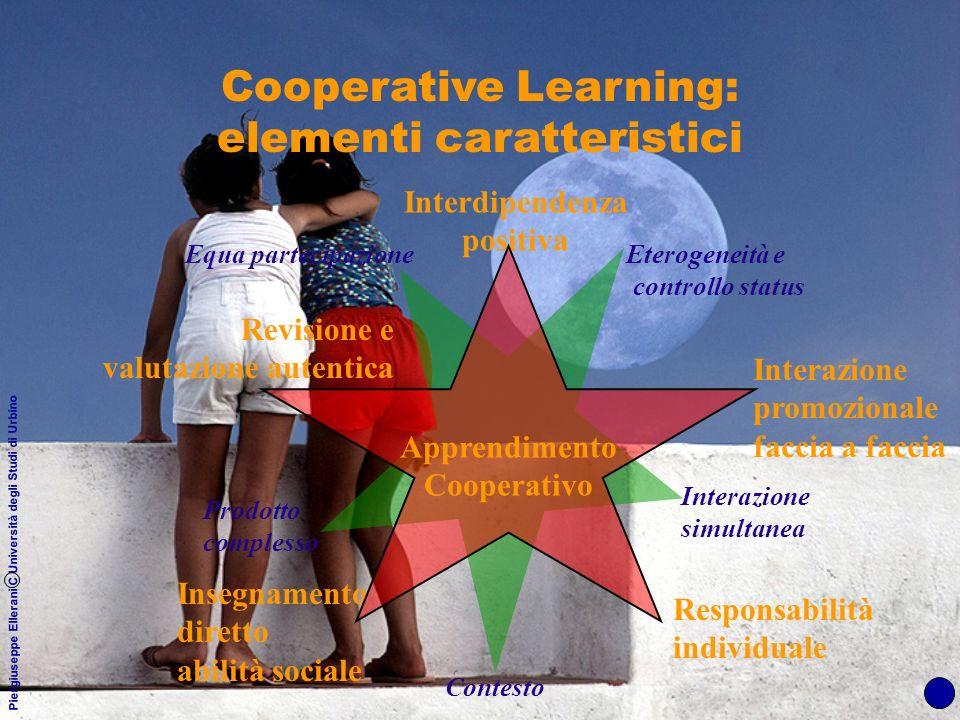 Piergiuseppe Ellerani C Università degli Studi di Urbino Cooperative Learning: elementi caratteristici Interdipendenza positiva Interazione promoziona